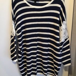 Dark Blue & White Stripe Top with Lace Sleeves